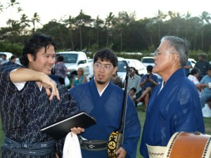 Norman, Derek, and Terry senseis before the bon dance. Terry sensei is actually from Maui.