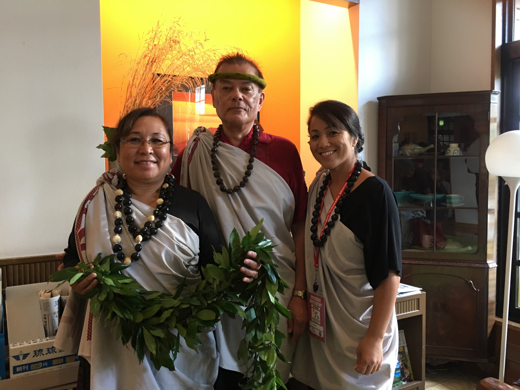 Esteemed Hawaiian delegation to Okinawa to present inspiring message of language revitalization.  Dr. Keiki Kawaiʻaeʻa, Dr.Kalena Silva, Māhealani Kobashigawa